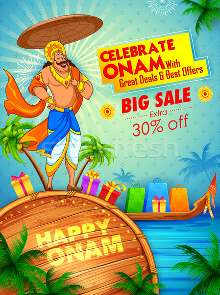 King Mahabali on advertisement and promotion background for Happy Onam festival of South India Keral Stock photo © vectomart
