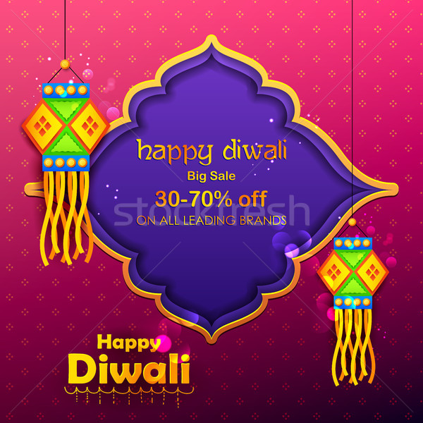 Hanging kandil lamp and diya for Diwali decoration Sale promotion advertisement background Stock photo © vectomart