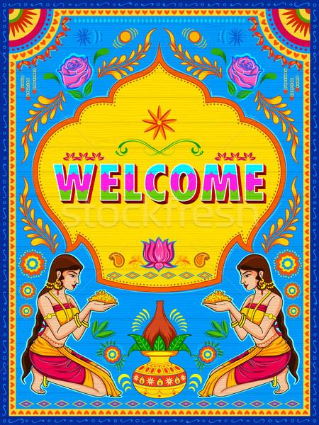 Colorato benvenuto banner camion arte Foto d'archivio © vectomart