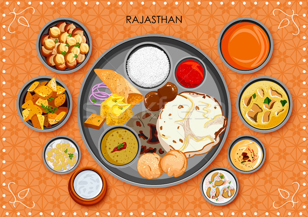 Traditional Rajasthani cuisine and food meal thali of Rajasthan India Stock photo © vectomart