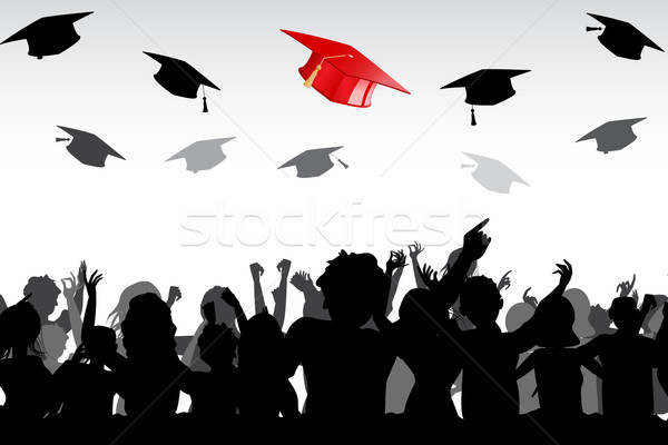 Graduation illustration diplômés bord air école Photo stock © vectomart