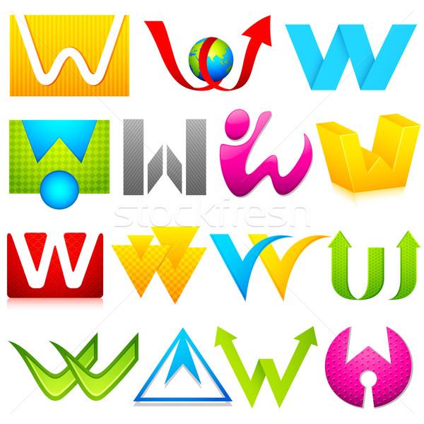 Inny ikona alfabet ilustracja zestaw kolorowy Zdjęcia stock © vectomart