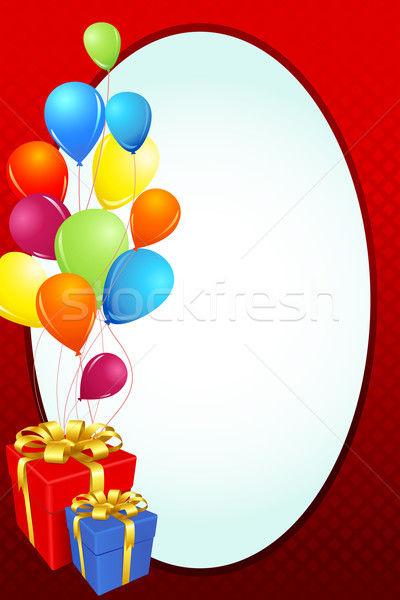 Birthday Card with Gift and Balloon Stock photo © vectomart