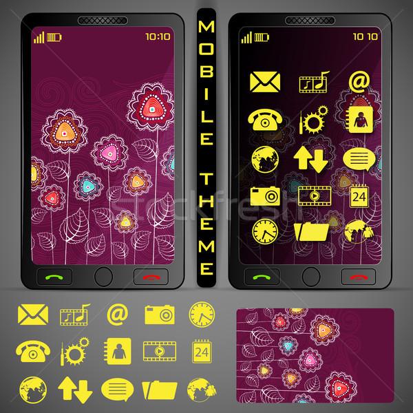 Ilustração telefone móvel colorido aplicação botão projeto Foto stock © vectomart