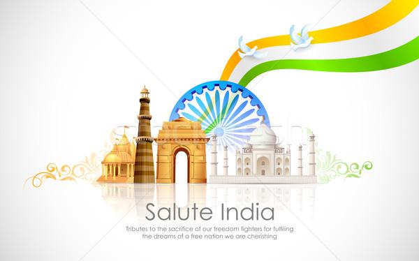 India illustrazione ondulato indian bandiera sfondo Foto d'archivio © vectomart