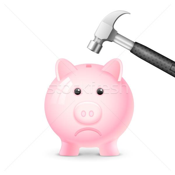Finansal kriz örnek çekiç kumbara para finanse Stok fotoğraf © vectomart