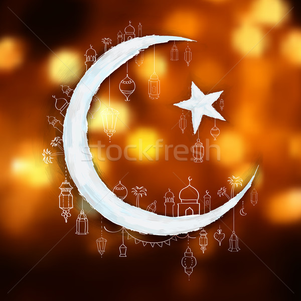 Ramadan genereus illustratie ontwerp maan achtergrond Stockfoto © vectomart