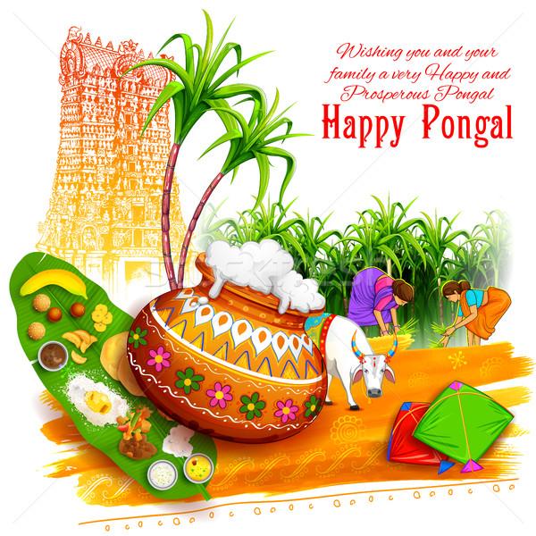 Feliz saudação ilustração comida fazenda trigo Foto stock © vectomart