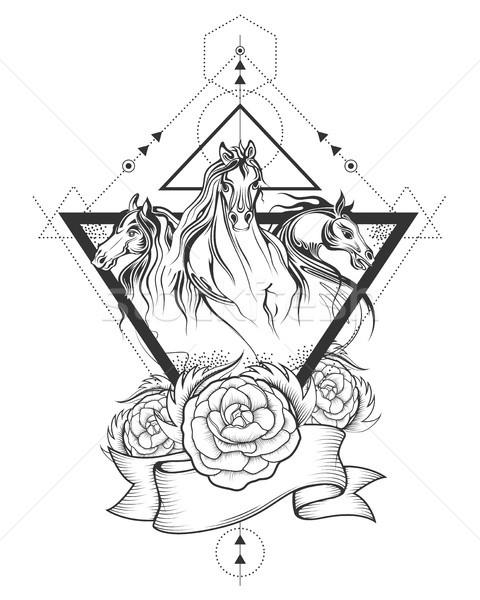 Tetoválás művészet terv lóverseny vonal illusztráció Stock fotó © vectomart