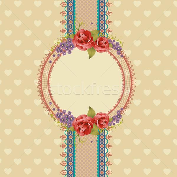 Recados ilustração estilo floral retro fundo Foto stock © vectomart