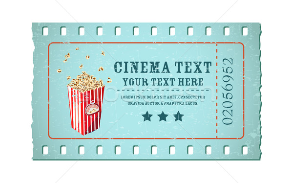 Film ticket illustratie vorm film reel popcorn Stockfoto © vectomart