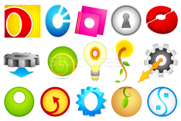 Stock photo: Different Icon with alphabet O