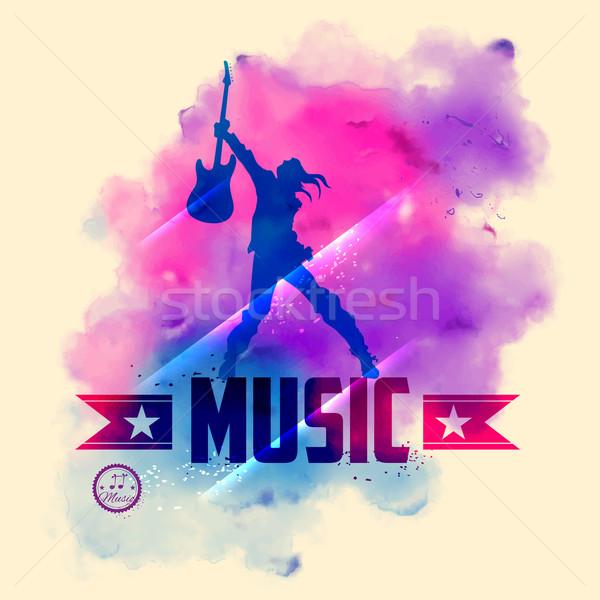 Estrela do rock guitarra musical ilustração festa moda Foto stock © vectomart