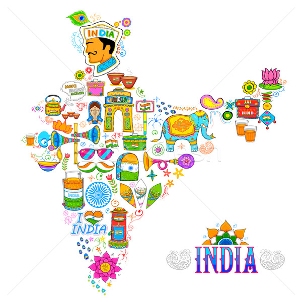 Stock foto: Kitsch · Kunst · Indien · Karte · Illustration · Reise