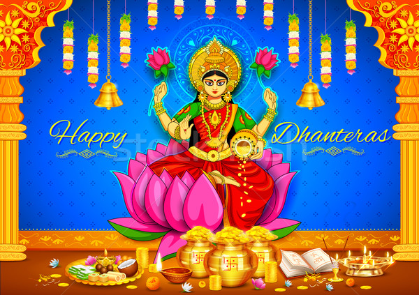 Goddess Lakshmi on Happy Diwali Dhanteras Holiday doodle background for light festival of India Stock photo © vectomart