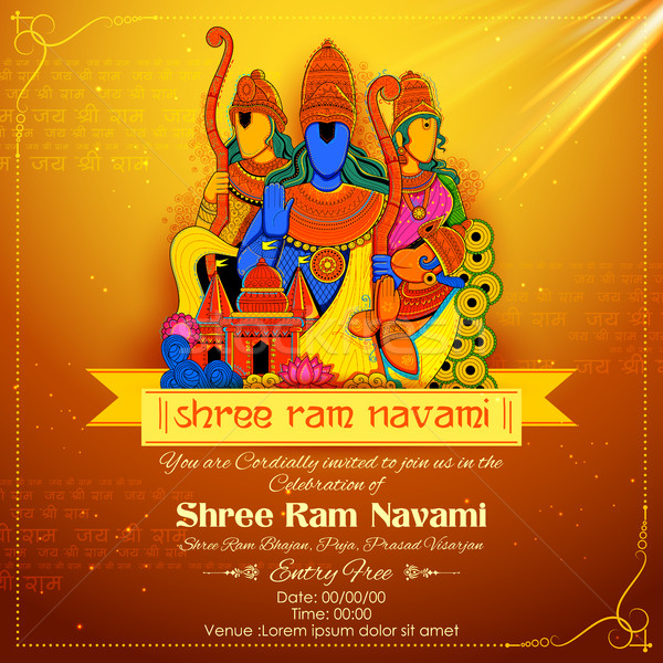 Lord Ram, Sita, Laxmana, Hanuman and Ravana in Ram Navami Stock photo © vectomart