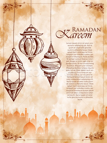 Ramadan Kareem Generous Ramadan greetings for Islam religious festival Eid on holy month of Ramazan Stock photo © vectomart