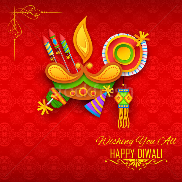 Happy Diwali background with diya and firecracker for light festival of India Stock photo © vectomart