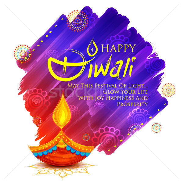 Stock photo: Burning diya on Happy Diwali Holiday background for light festival of India