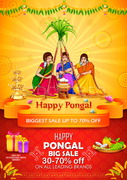 Happy Pongal Holiday Harvest Festival of Tamil Nadu South India Sale and Advertisement background Stock photo © vectomart