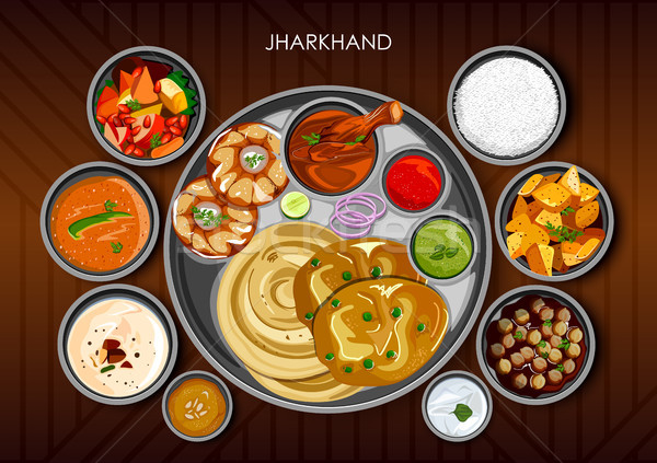 Traditional cuisine and food meal thali of Jharkhand India Stock photo © vectomart