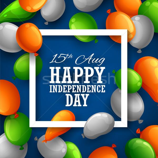Indian driekleur vlag ballon gelukkig dag Stockfoto © vectomart