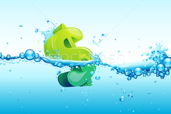Dollar Wasser Illustration Zeichnung blau Stock foto © vectomart