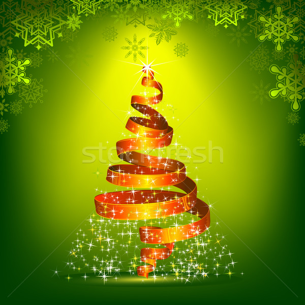 Arbre de noël forme ruban illustration design hiver Photo stock © vectomart