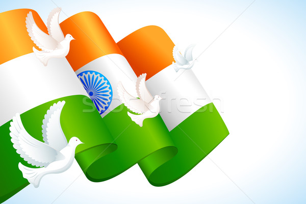 Colombe battant indian pavillon illustration tricolor Photo stock © vectomart