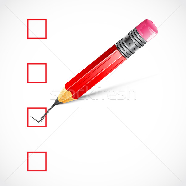 Crayon vérifier boîte illustration éducation Photo stock © vectomart