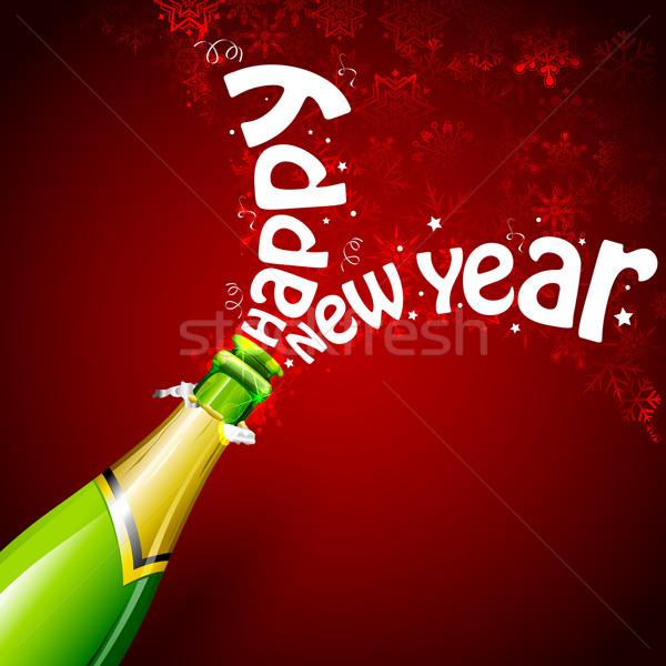Foto stock: Feliz · ano · novo · champanhe · ilustração · explosão · garrafa · cortiça