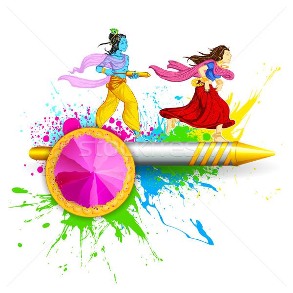 Radha and Lord Krishna playing Holi Stock photo © vectomart