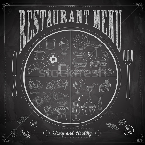 Restaurant menu craie bord illustration différent Photo stock © vectomart
