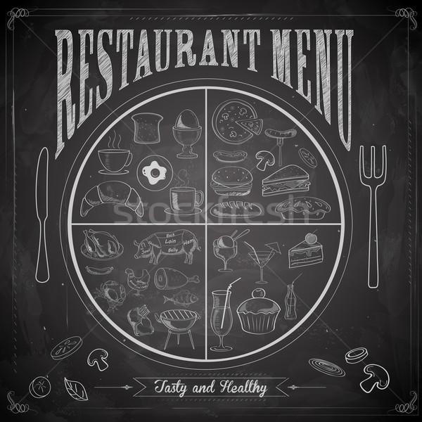 Restauracji menu kredy pokładzie ilustracja inny Zdjęcia stock © vectomart
