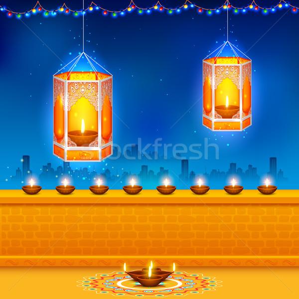 Hanging kandil in Diwali night Stock photo © vectomart