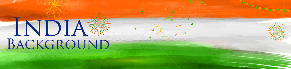 Abstract tricolor Indian flag watercolor background for Happy Independence Day of India Stock photo © vectomart
