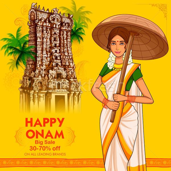South Indian Keralite woman with umbrella celebrating Onam Stock photo © vectomart
