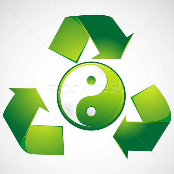 Verde yin yang illustrazione riciclare arrow abstract Foto d'archivio © vectomart