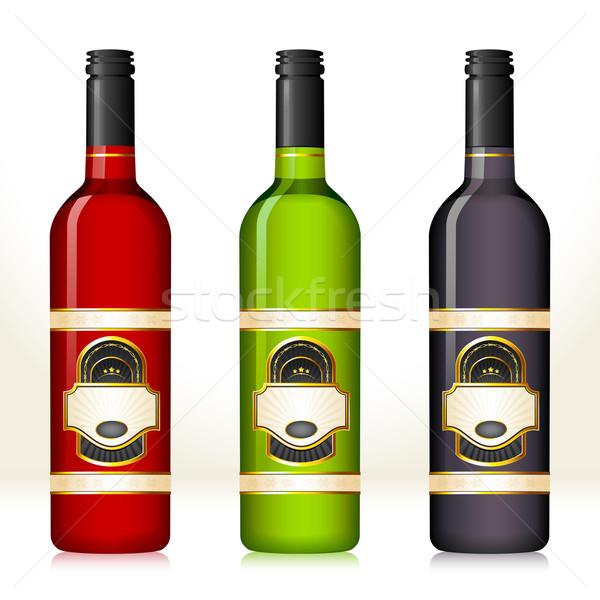 Bouteille de vin illustration coloré vin bouteilles Photo stock © vectomart