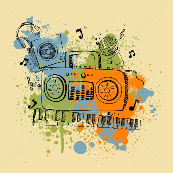 Musical illustratie muziekinstrument abstract muziek Stockfoto © vectomart