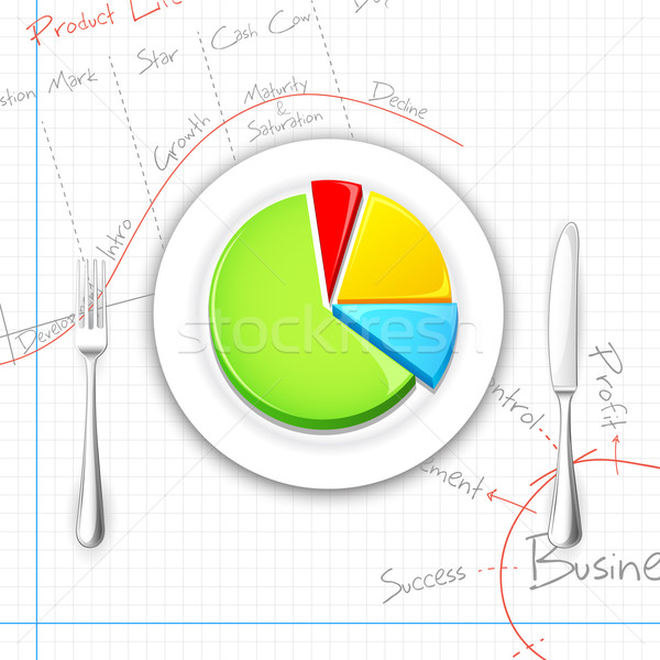 Pie chart on Dish with Fork and Knife Stock photo © vectomart