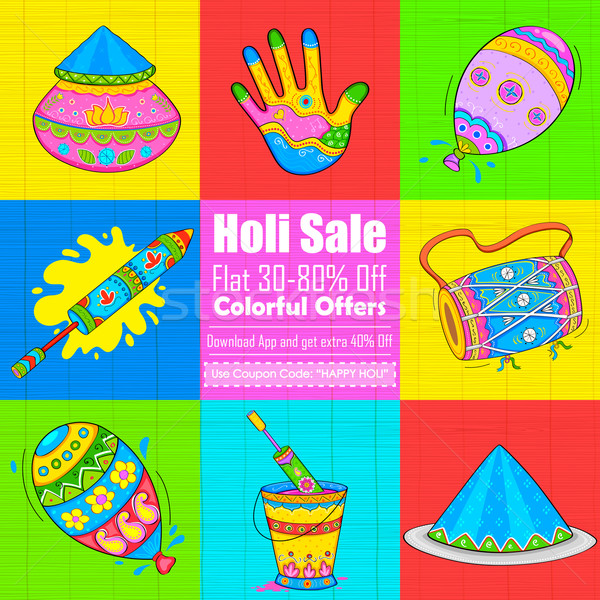 Holi element in Indian kitsch style Stock photo © vectomart