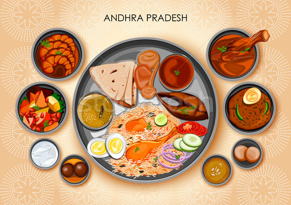 Traditional Andhrait cuisine and food meal thali of Andhra Pradesh India Stock photo © vectomart