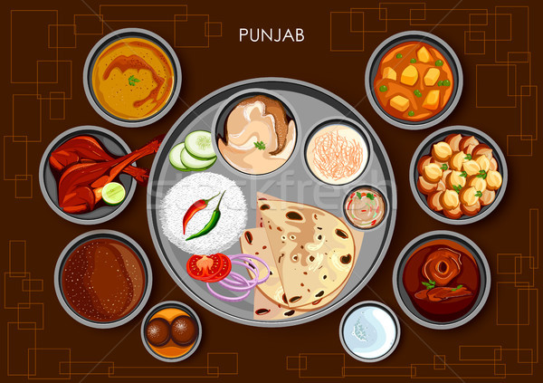Traditional Punjabi cuisine and food meal thali of Punjab India Stock photo © vectomart