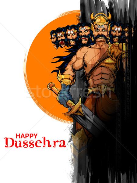 Dez ilustração festival Índia cartaz fundo Foto stock © vectomart