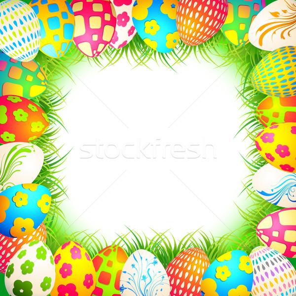 Húsvét illusztráció színes színes tojás fű keret Stock fotó © vectomart