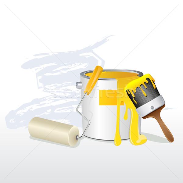 Wiadro szczotki ilustracja pędzlem projektu tle Zdjęcia stock © vectomart