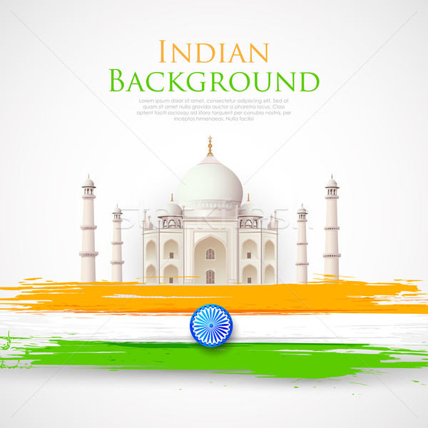 Taj Mahal with Tricolor India Flag Stock photo © vectomart