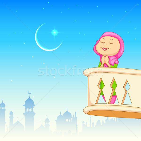 Kid offering namaaz for Eid celebration Stock photo © vectomart