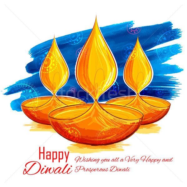 Stock photo: Burning diya on Happy Diwali Holiday watercolor background for light festival of India